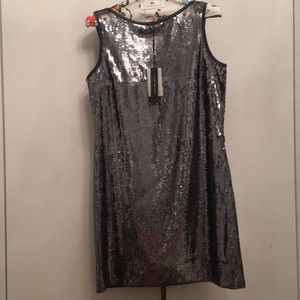 Elie Tahari silver sequence cocktail mini dress